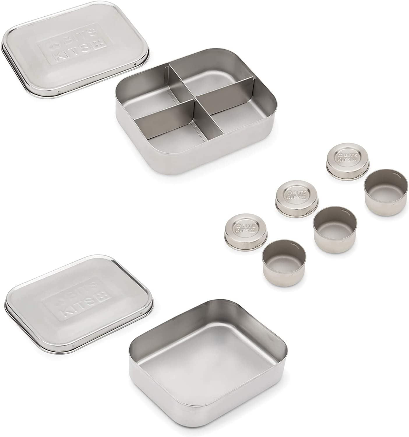Bits Kits Bento Box Lunch and Condiment Containers Bundle for Kids and Adults, Set of 5, Stainless Steel