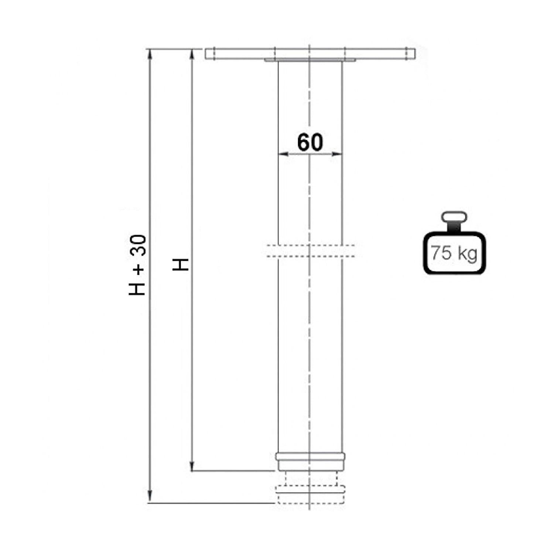 4er Set SO-TECH/® Tischbeine//H/öhe 820 mm//H/öhenverstellbar///Ø 60 mm//SCHWARZ//Tragkraft bis 75Kg je Fu/ß//Schreibtischbeine M/öbelbeine Tischf/ü/ße