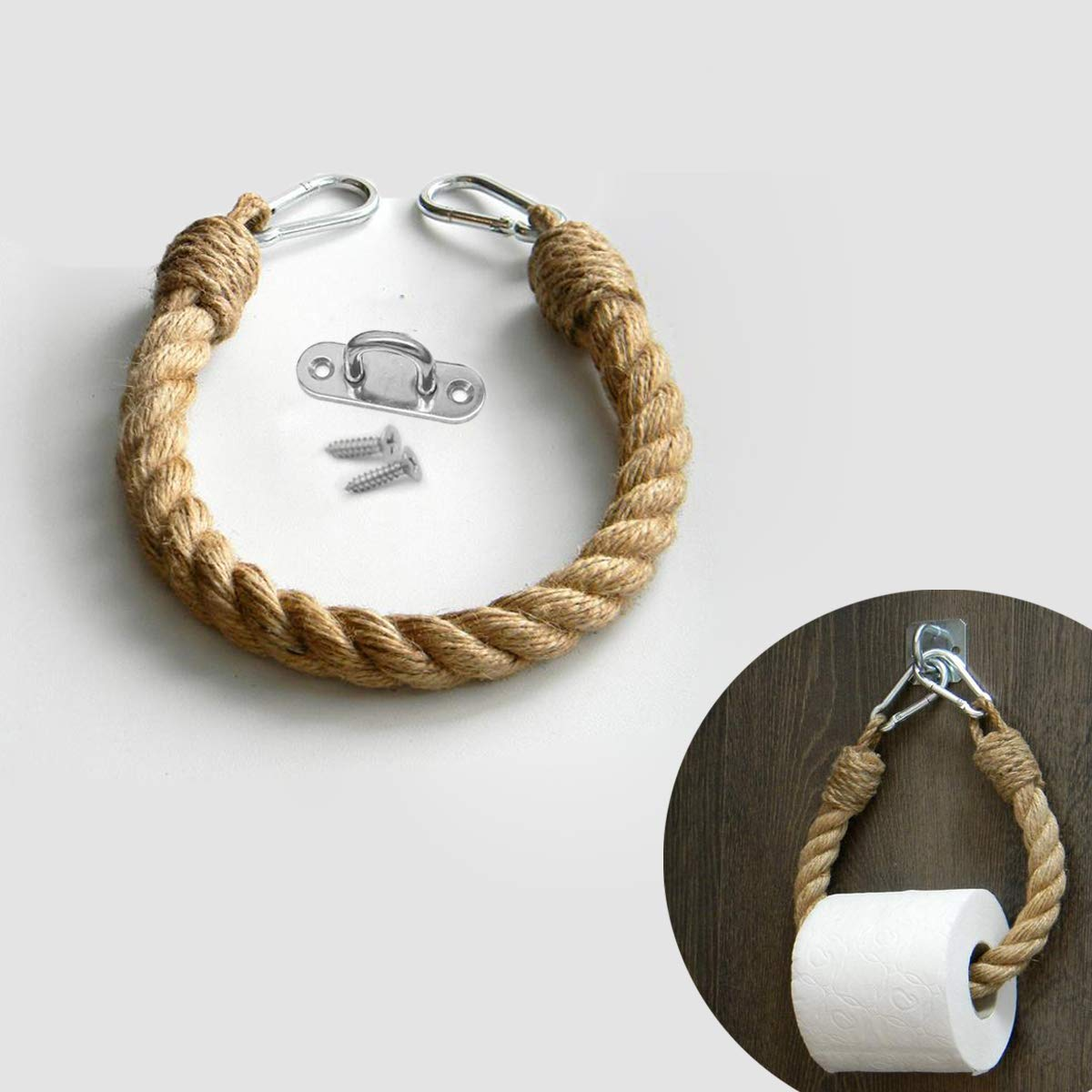 EBINGMIMA Nautical Rope Toilet Paper Holder Bathroom Decor (Jute Rope, 50cm/19.7inches): Amazon.in: Home & Kitchen