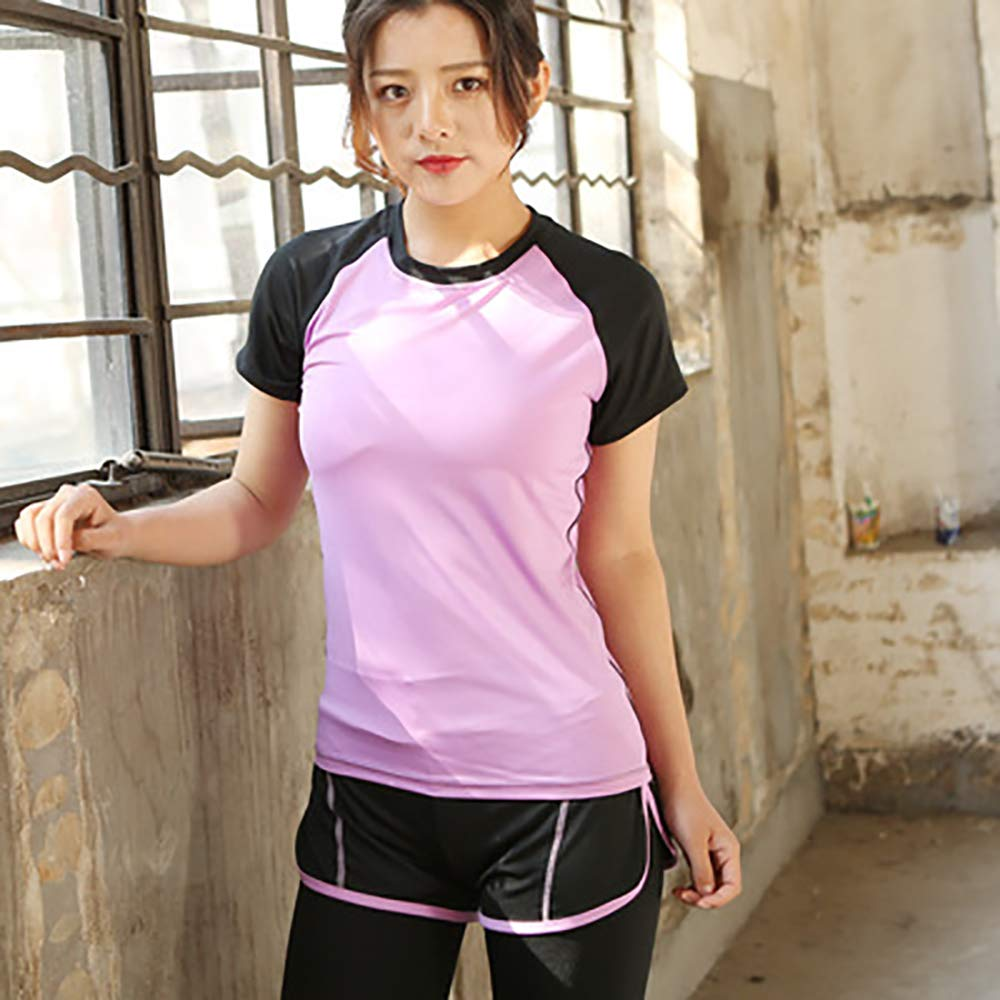 HWTP Frauen-Polo-Shirt, Fitness-Trainings-Sweatshirt Laufbekleidung Yoga-Kurzarm-Sportoberteile Frauen-Fitnessoberteile,b,S