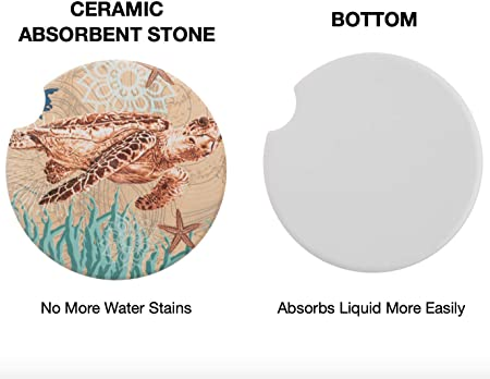 Avamie Auto Untersetzer 4 Pack Auto Getränkehalter Untersetzer Saugfähige Keramik Untersetzer Für Auto 6 5 Cm Ozeanwesen Design Für Damen Und Herren Küche Haushalt