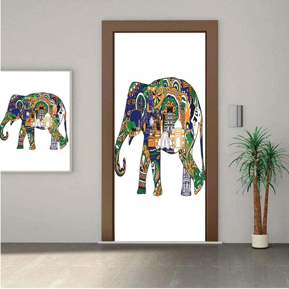 Ylljy00 Elephant Premium Stickers for Door/Wall/Fridge Home DecorElephant with Asian Symbols Landmarks Architecture Tourist Attractions 24x63 ONE Piece Sticky Mural,Decal,Cover,Skin