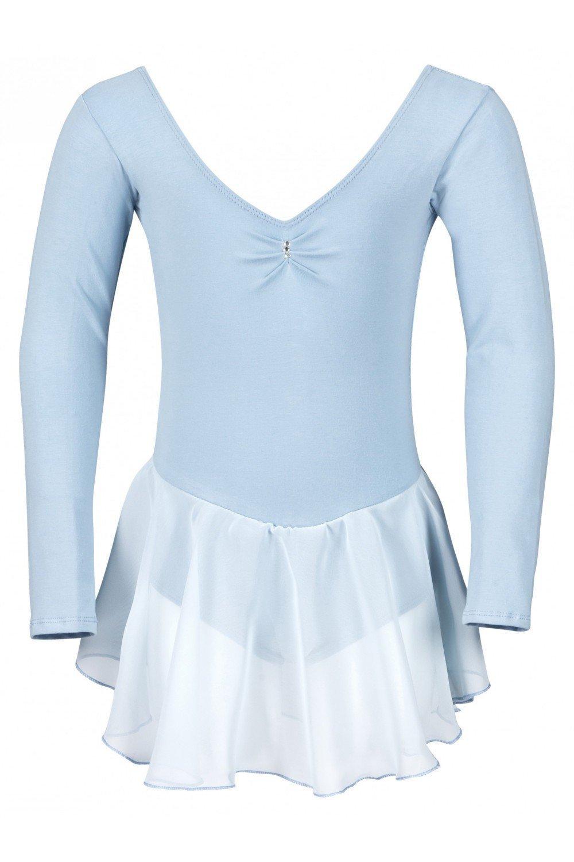"""tanzmuster Kinder Langarm Ballettkleid """"Anna"""" aus Baumwolle mit Chiffon Röckchen in rosa, weiß, schwarz, hellblau, pink und lila. Süßer Ballettanzug / Ballett Trikot mit Glitzerstein Verzierung. weiß"""