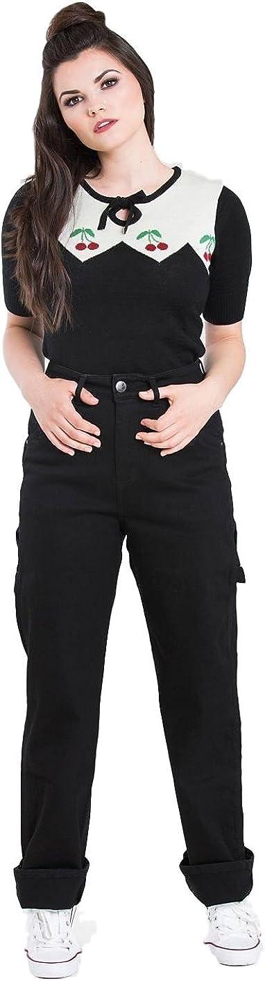 Pantaloni Carpenter di Hell Bunny Denim Jeans in Stile degli anni 40s 50s Vintage Retro Rockabilly
