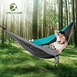 ALPHA CAMP Double Camping Hammock Parachute Hammock with Tree Straps Ultralight Portable for Backpacking Travel Hiking Beach Yard, Blue Gray