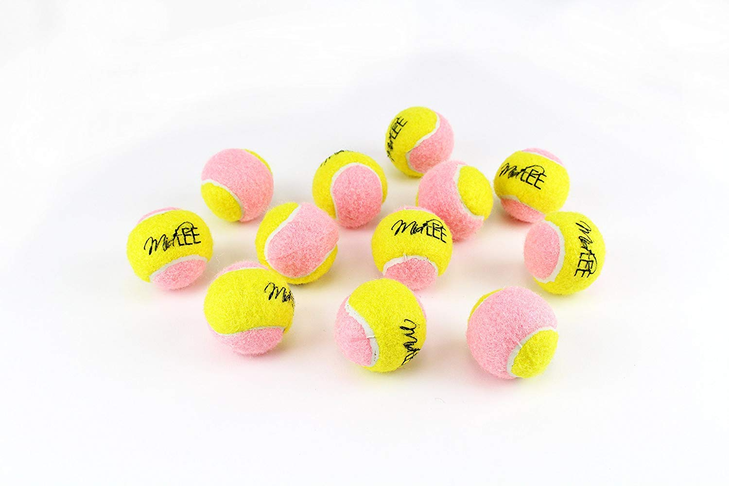 Midlee X-Small Dog Tennis Balls 1.5'' Pack of 12 (Pink/Yellow, 1.5 inch)