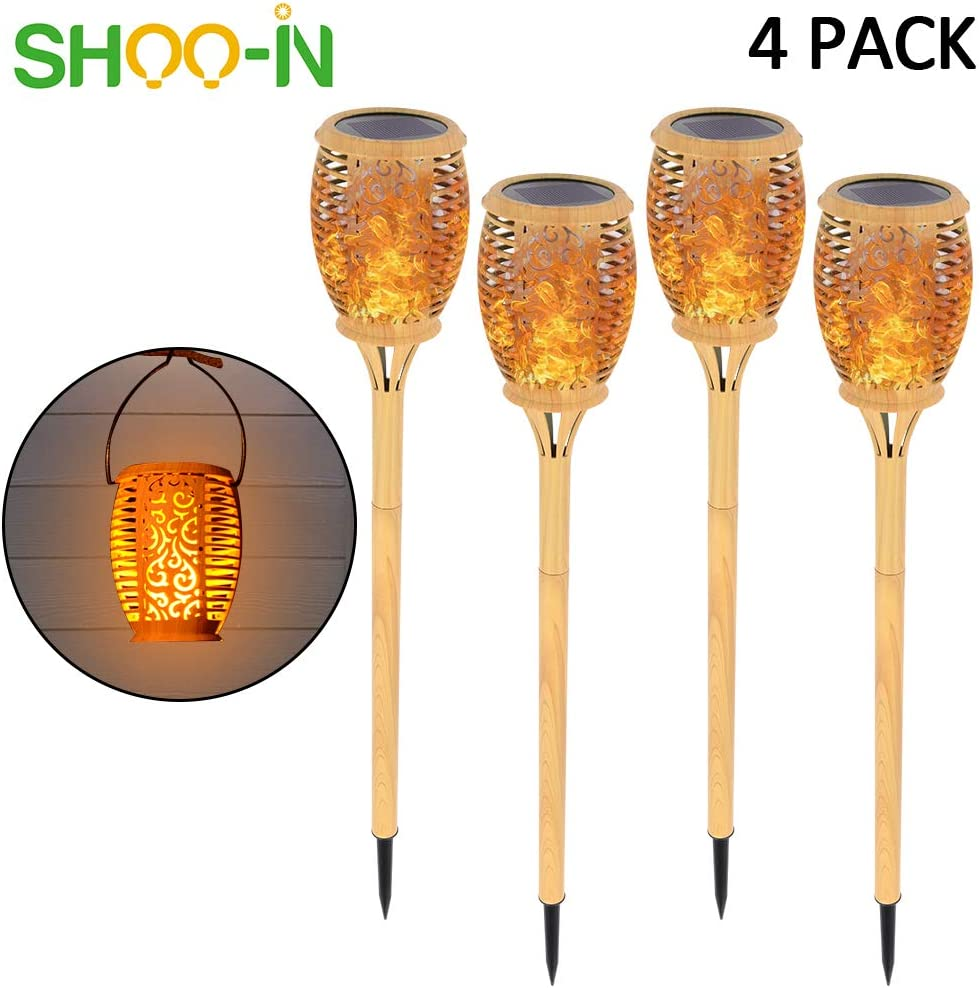 Solar Lights Upgraded,Lighting Dusk to Dawn Auto On//Off,Black,4 Pack SHOO-IN Solar Torch Light Outdoor