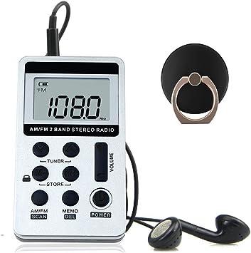 Mini FM AM Radio Receptor portátil de radio de bolsillo con soporte de anillo y auriculares,batería recargable para exteriores e interiores(Plata)