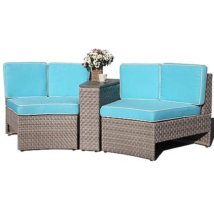 Marvelous Amazon Com Patiorama 3 Piece Outdoor Half Moon Curved Cjindustries Chair Design For Home Cjindustriesco