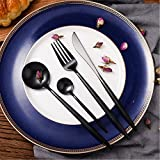 LEKOCH 4-Piece Stainless Steel Flatware Set 1 Including Fork Spoons Knife Tableware (Black)