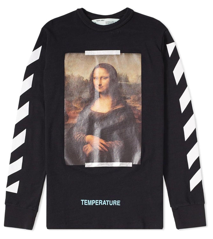 OFF-WHITE オフホワイト モナリザ長袖Tシャツ メンズ DIAGONAL MONALISA LONGSLEEVE TEE(全2色) 【OMAB001S18001012】 (BLACK, S) B07F2T83RB