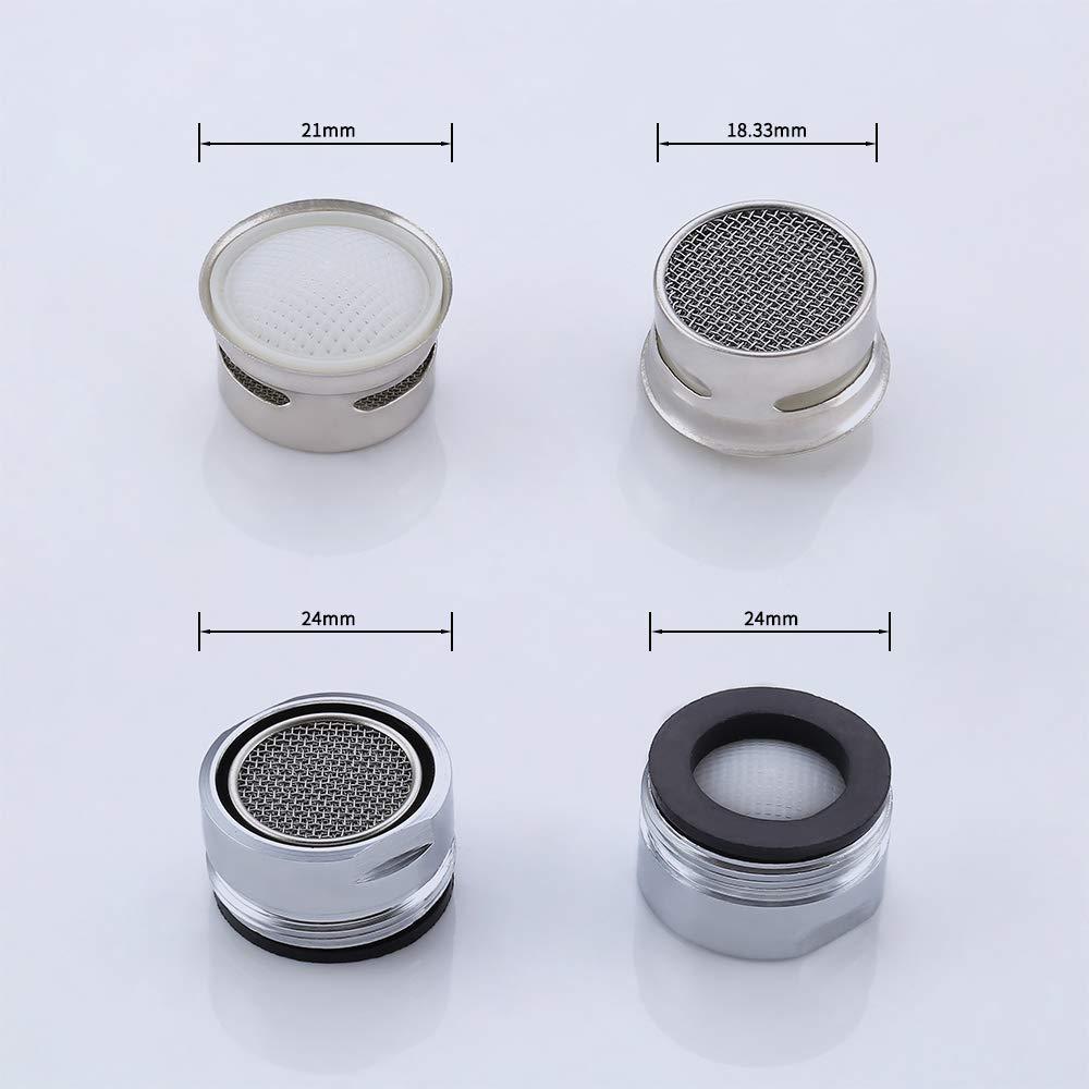 Chrome poli KES PA1B-P3 Lot de 3 mousseurs de rechange /à vis et joint d/étanch/éit/é pour robinet