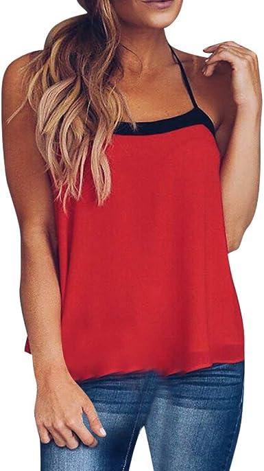 Vectry Correa Sexy De Verano para Mujer Chaleco De Doble Color Costura Top Camisa Sexy Casual Chaleco 2019 Verano De Camiseta: Amazon.es: Ropa y accesorios