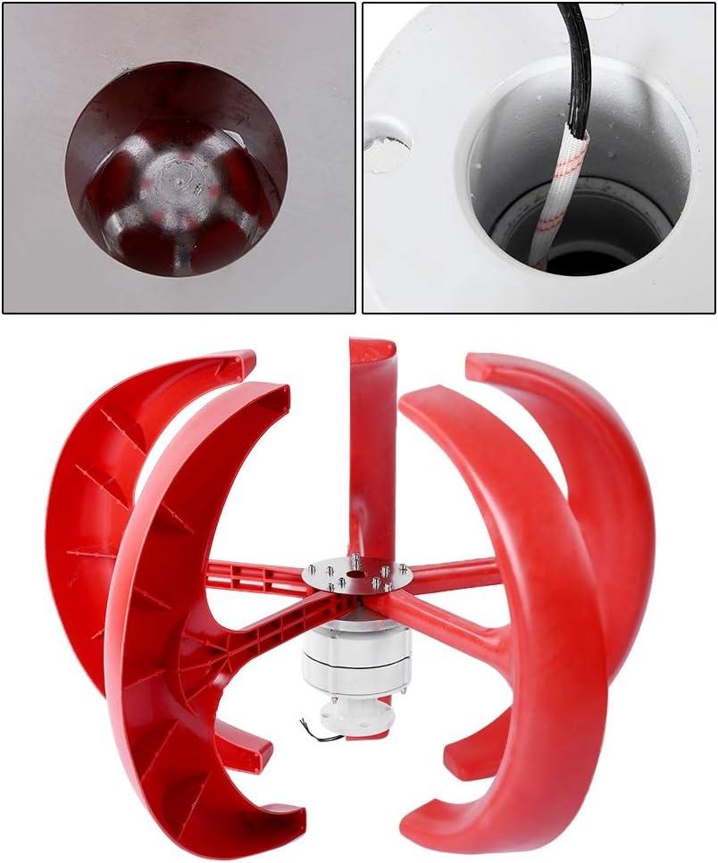 White Low Noise//Waterproof//Sand Resistance 600W DC12V Wind Turbine Lantern Vertical Wind Generator Kit Electricity Producer Equipment Wind Turbine Generator Set