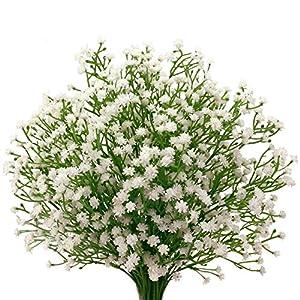 "DALAMODA 10Pcs Artificial Flowers 21"" Baby Breath-Gypsophila Artificial Fake Silk Plants Wedding Party Decoration Real Touch Flowers DIY Home Garden 21"
