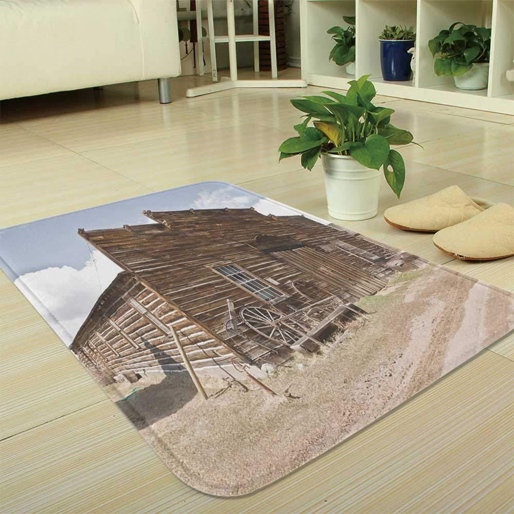 YOLIYANA Custom Carpet,Barn Wood Wagon Wheel,for Children Bedroom Corridor,35.43''x47.24'',Abandoned Mercantile with Wagon Wheels Ghost