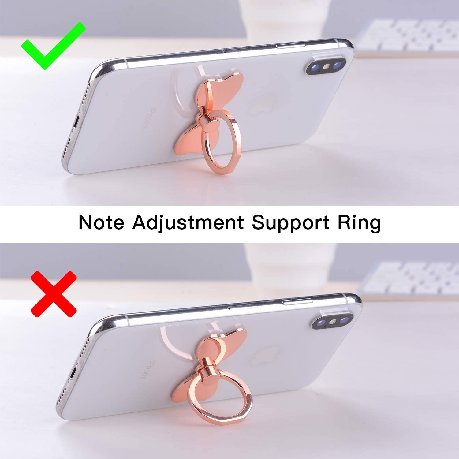 Rose Gold Cell Phone Ring Holder Stand,Finger Ring Stand Pelc Butterfly Metal Ring Grip for Magnetic Car Mount Compatible with All Smartphone