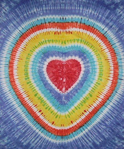 (Sunshine Joy Loving Heart Tie Dye Tapestry Cotton Wall Hanging 102