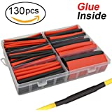 "130 pcs 3:1 Dual Wall Adhesive Heat Shrink Tubing kit, 6 Sizes(DIA): 1/2"", 3/8"", 1/4"", 3/16"", 1/8"", 3/32"", Best Cable Sleeve Tube Assortment with Storage Case for DIY by MILAPEAK (Black & Red)"