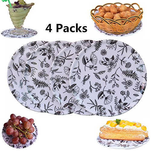 Melamine Coasters (Melamine Trivet Mat 4 Set iTecow Multi-Use Coasters - Insulated Durable Non Slip for Hot Pot Holders Cake Discs Gifts (flower))