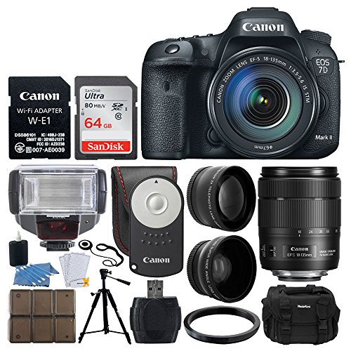 Canon EOS 7D Mark II DSLR Camera with 18-135mm f/3.5-5.6 is USM Lens & W-E1 Wi-Fi Adapter + RC-6 Wireless Remote + Wide Angle & Telephoto Lens + 64GB Card + TTL Flash + Quality Tripod + Accessories
