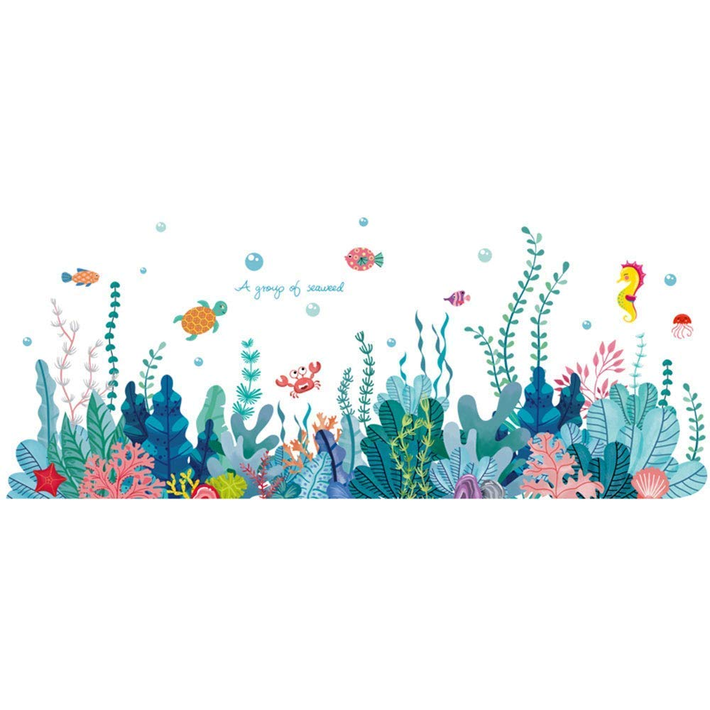 RW- 6794 Removable 3D Under The Sea View Grass Wall Decal DIY Ocean Coral Seaweed Wall Stickers Murals Peel and Stick Home Wall Decor for Kids Bedroom Bathroom Girl Nursery Wall Corner Decoration (A)