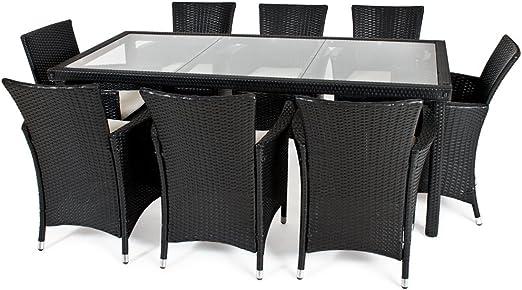 TecTake arredo Giardino Set Rattan salotti da Giardino Rattan mobili in Rattan tavoli per Esterno sedie da Giardino Set 8+1 Colore: Nero