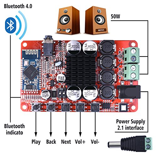 Dual Channel Bluetooth Amplifier Board,Quimat TDA7492 2 x 50 Watt 2 Channel Wireless Audio Receiver Digital Hifi Module with Protective Case and Heat sinks by Quimat