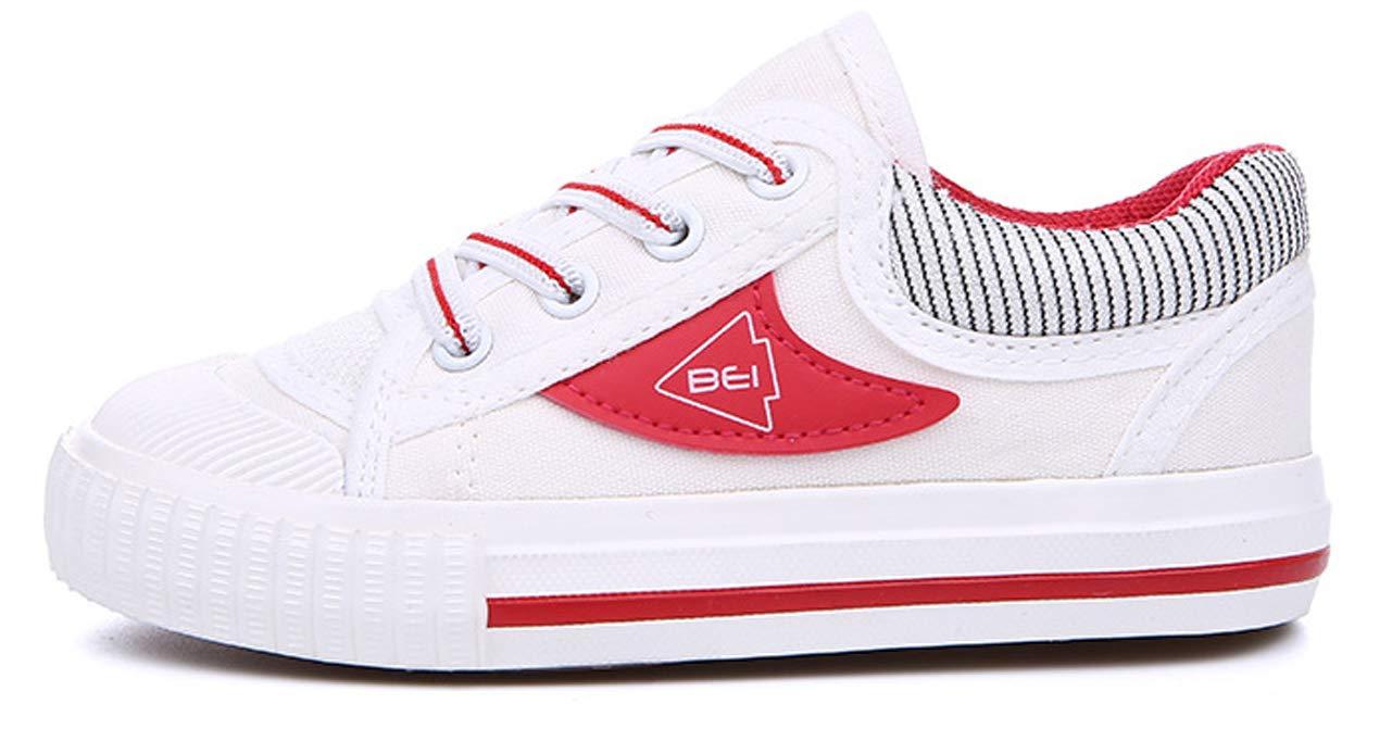 iDuoDuo Boys Girls Fashion Stripes Lace up Anti Slip School Tennis Shoes Red 9.5 M US Toddler by iDuoDuo (Image #2)