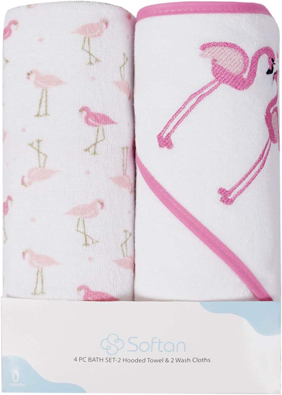 flamencos toalla ultra suave paquete de 4 Juego de toallas y pa/ños con capucha para beb/és gran regalo para beb/és y reci/én nacidos