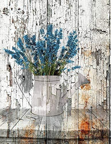 """Blue Rustic Modern Farmhouse Kitchen Wall Art, Littlepiecreations Original USA Handmade Artwork, 8""""x10"""" with 11""""x14"""" White Mat (Fits 11""""x14"""" Frame)"""