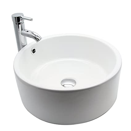 Round sink bowl Modern Image Unavailable Amazoncom Round White Ceramic Vessel Sink Bowl With Chrome Faucet And Popup