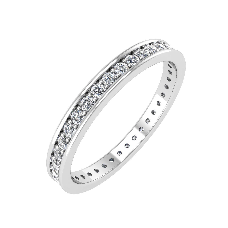 IGI Certified 14k White Gold Diamond Eternity Band Bridal Ring (0.41 Carat)