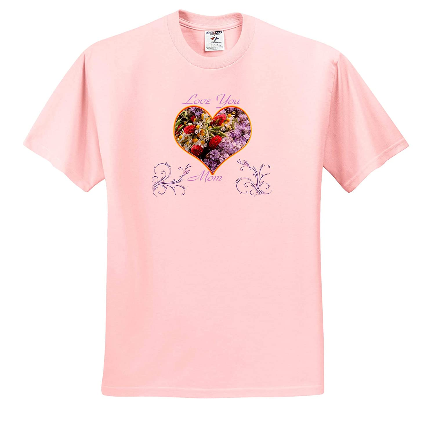 3dRose Lens Art by Florene Mothers Day T-Shirts Image of Love You Mom in Heart of Flowers with Violet Scrolls