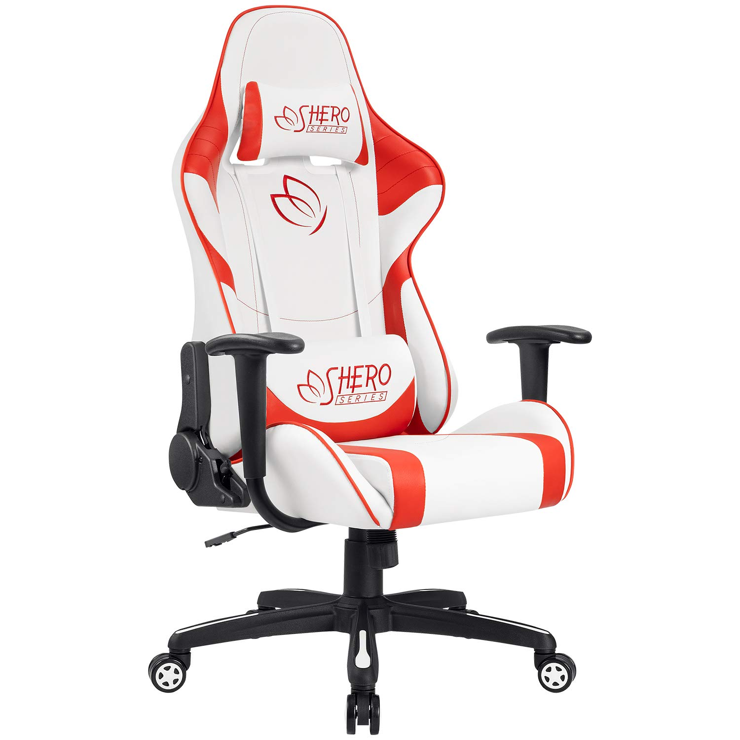 Homall Gaming Chair Racing Office Chair High Back Computer Desk Chair Leather Executive Adjustable Swivel Chair with Headrest and Lumbar Support (Red)