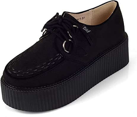RoseG Femmes Lacets Plate Forme Gothique Punk Creepers Casual Chaussures