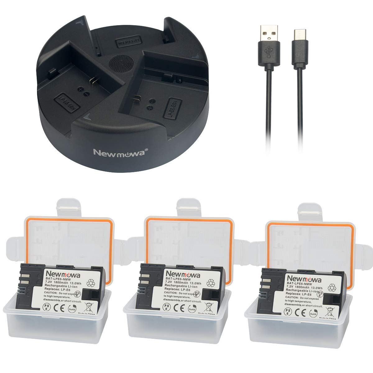 Newmowa LP-E6 LP-E6N Batería de Repuesto (2-Pack) y Kit de ...