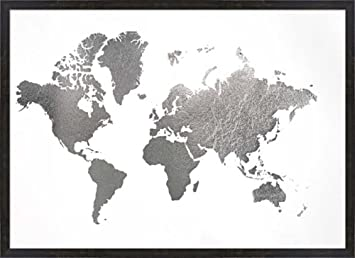 Amazon large silver foil world map metallic foil by jennifer large silver foil world map metallic foil by jennifer goldberger framed art print wall picture gumiabroncs Choice Image