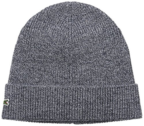 Lacoste Men's Rib Wool Beanie, Moline Navy Blue, One Size