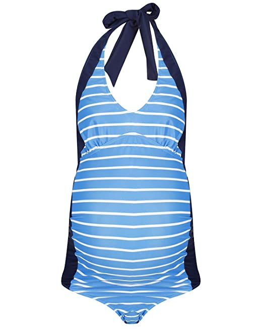 775b8bd5d9f53 The Essential One Womens Maternity Nautical Swimsuit - Blue White - 8 -  EOM210  Amazon.ca  Clothing   Accessories