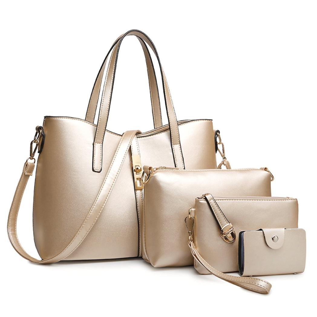 Lavany 4PC Women Shoulder Bag Leather Top Handle Messenger Bag With Zip Crad Bag (Gold)
