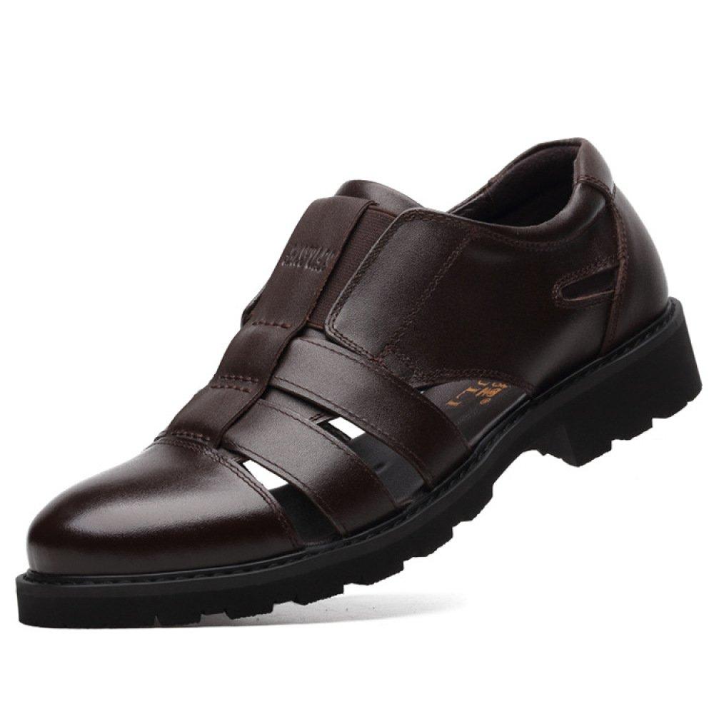 Zapatos De Cuero Genuino De Los Hombres del Verano Sandalias Respirables Huecas Zapatos Casuales Ocasionales del Negocio,Brown-46=280mm 46=280mm|Brown