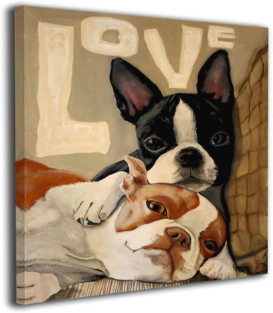 King Duck Wall Art Painting Boston Terrier Picture Printed On Canvas Artwork Stretched Framed Decorations Living Room Bathroom Bedroom Home Decor