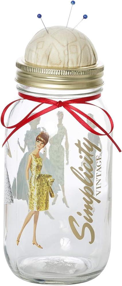 3.5 x 3.5 x 8.25 Inches Simplicity Vintage 5592020001 Patterned Retro Fashion Pincushion Mason Jar