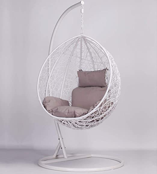 Maison White Rattan Style Swing Patio Garden Weave Hanging Egg Chair With Cushion Outdoor Indoor Amazon Co Uk Garden Outdoors