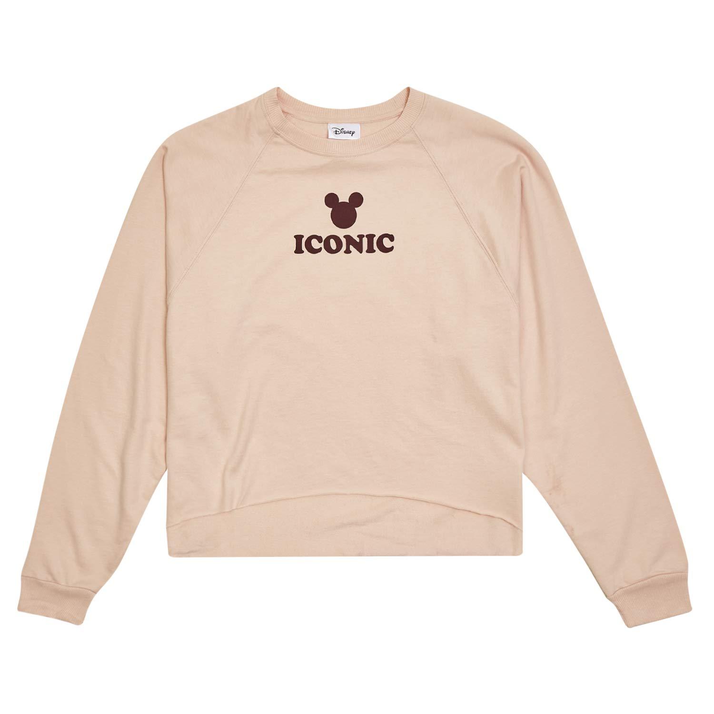 Disney Ladies Mickey Mouse Fashion Shirt Mickey Mouse Oversized Raglan Sweatshirt (Light Pink, Large) by Disney