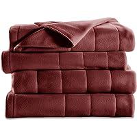 Sunbeam Quilted Fleece Heated Blanket with EasySet Pro Controller, Full, Garnet