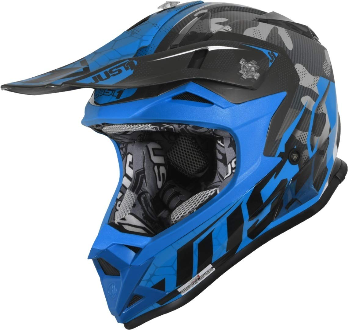 Motodak Casco JUST1 J32 Pro Swat Camo Fluo Blu Gloss Taglia S