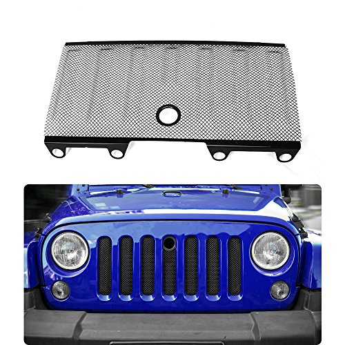 New Style 3D Front Grille Mesh, Grill Inserts Insect Net with Key Hood Lock for 2007-2018Jeep Wrangler JK JKU Unlimited Accessories (Black)