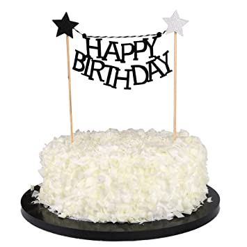Sunny ZX Black Happy Birthday Cake Bunting Banner Star Cupcake Toppers Picks For Baby Shower Party